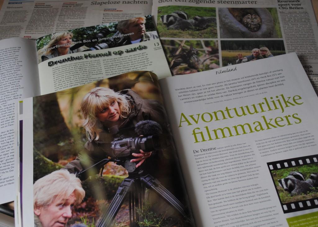 Regelmatig schrijven diverse bladen over het bijzondere werk en de prachtige films van Henk en Janetta
